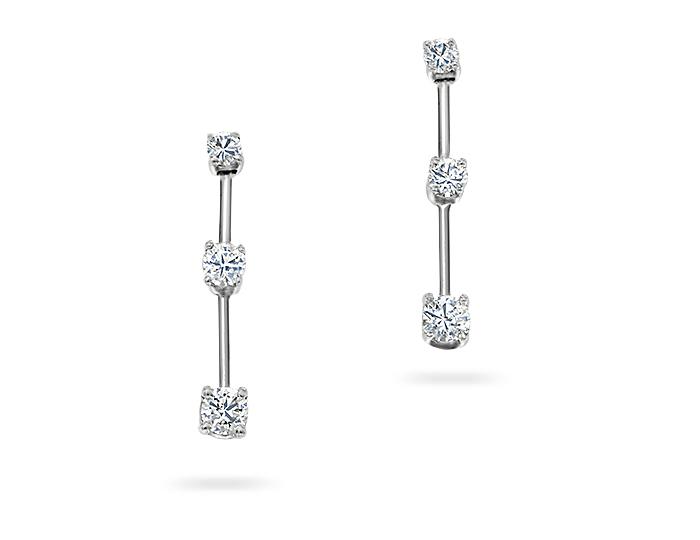 Roberto Coin round brilliant cut diamond earrings in 18k white gold.