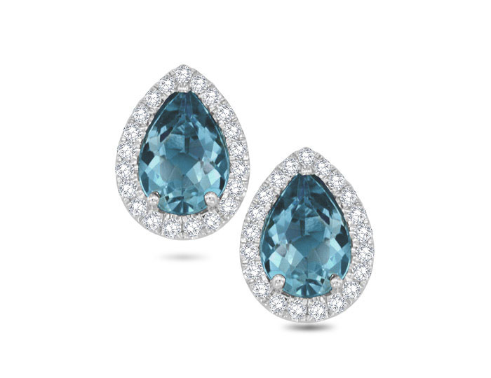 Pear shape aquamarine and round brilliant cut diamond earrings in 18k white gold.