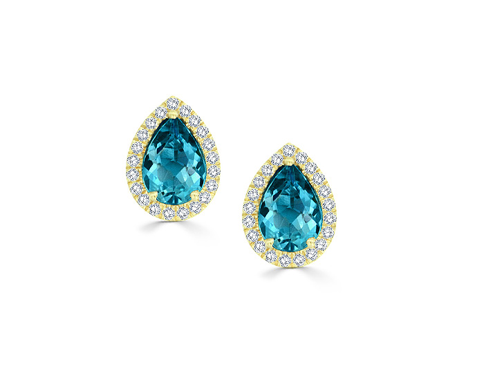 Pear shape aquamarine and round brilliant cut diamond earrings in 18k yellow gold.