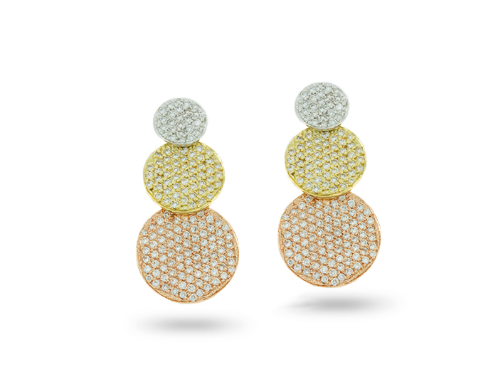 Roberto Coin round brilliant cut diamond earrings in 18k yellow, white and rose gold.