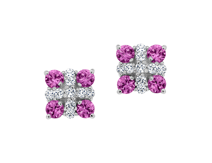Pink sapphire and round brilliant cut diamond earrings in 18k white gold.