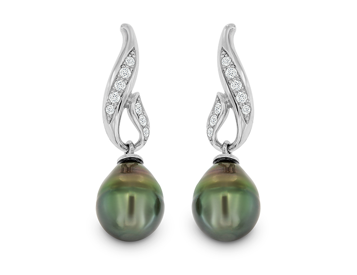 Tahitian pearl and round brilliant cut diamond earrings in 18k white gold.