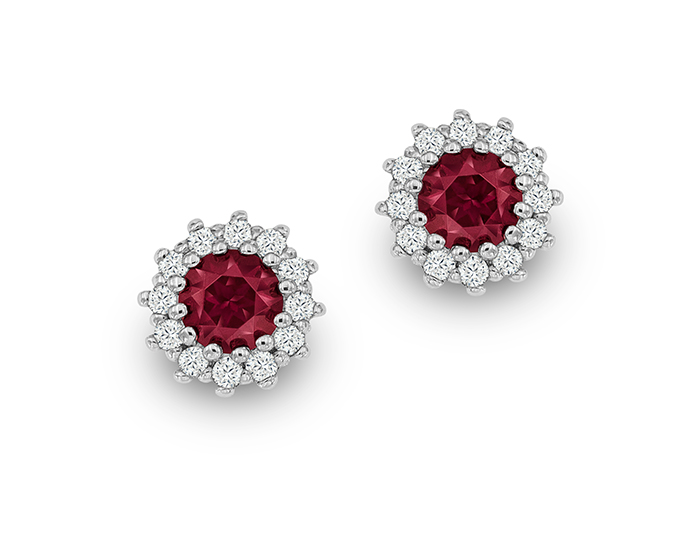 Rhodolite garnet and round brilliant cut diamonds in 18k white gold.