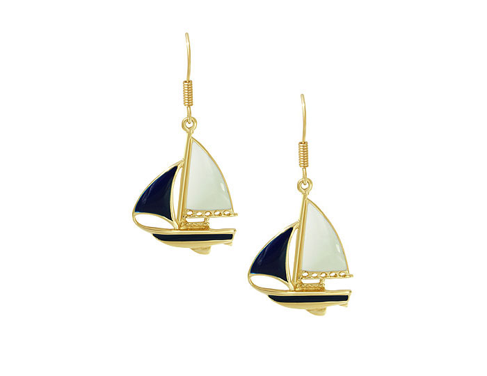 Enamel sailboat earrings in 14k yellow gold.