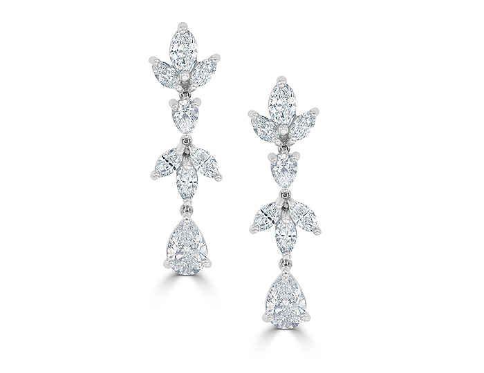 Marquise cut and pear shape diamond earrings in platinum.
