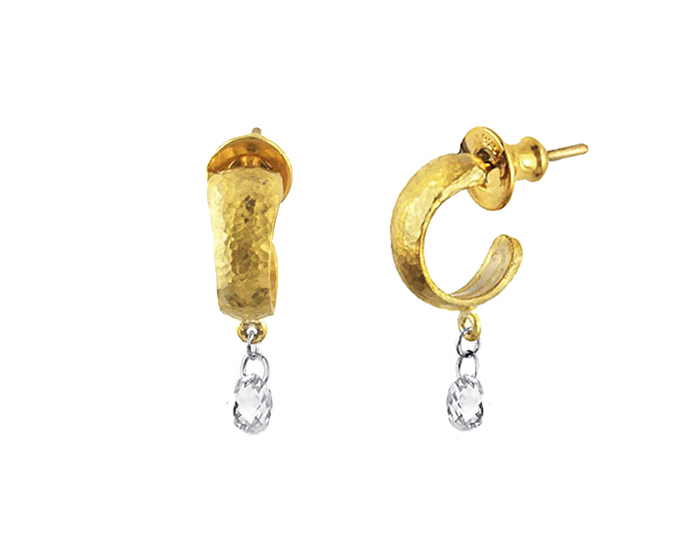 Gurhan briolette cut diamond earrings in 24k yellow gold.