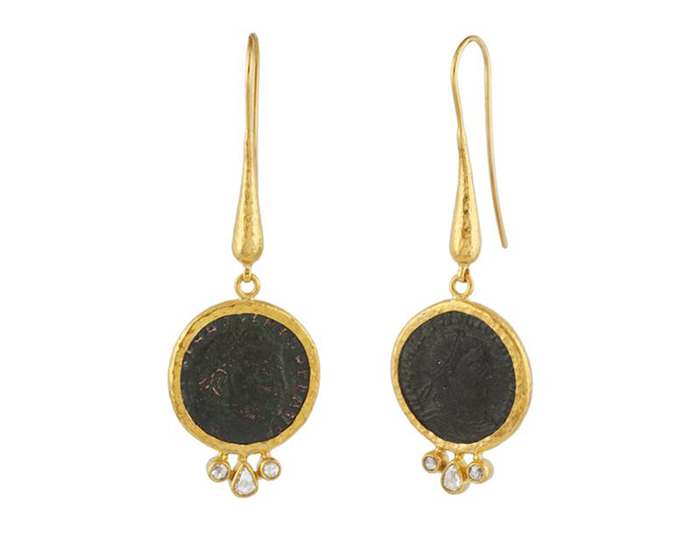 Gurhan one-of-a-kind Roman coin and diamond earrings in 24k yellow gold.