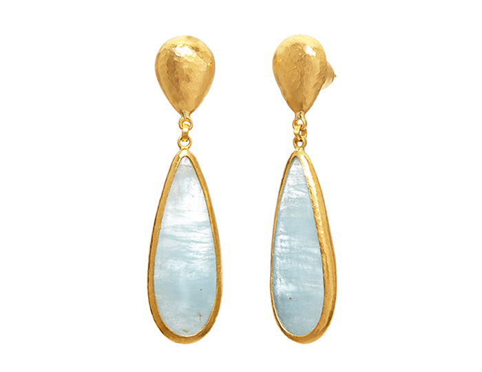 Gurhan aquamarine earrings in 24k yellow gold.