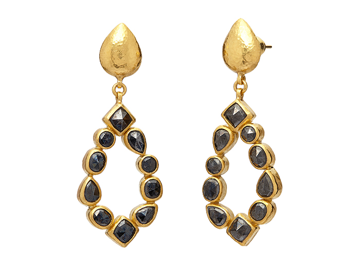 Gurhan one-of-a-kind black diamond earrings in 24k yellow gold.