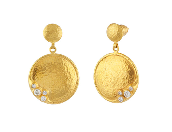 Gurhan Pointelle Collection round brilliant cut diamond earrings in 22k yellow gold.
