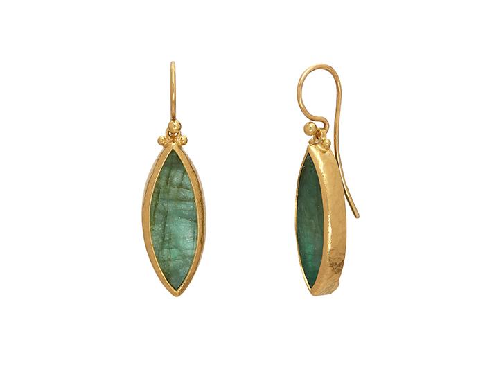 Gurhan one-of-a-kind emerald earrings in 24k yellow gold.