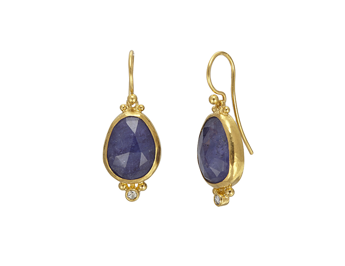 Gurhan Elements Collection tanzanite and diamond earrings in 24k yellow gold.