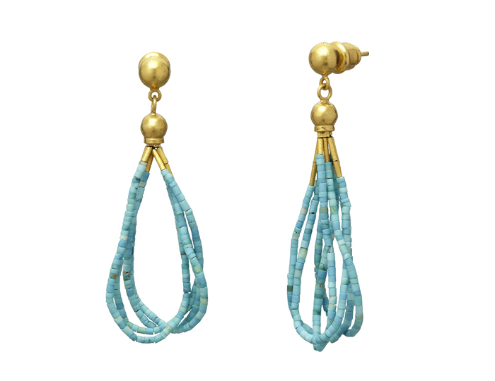 Gurhan Delicate Collection earrings in Turquoise and 24k yellow gold.