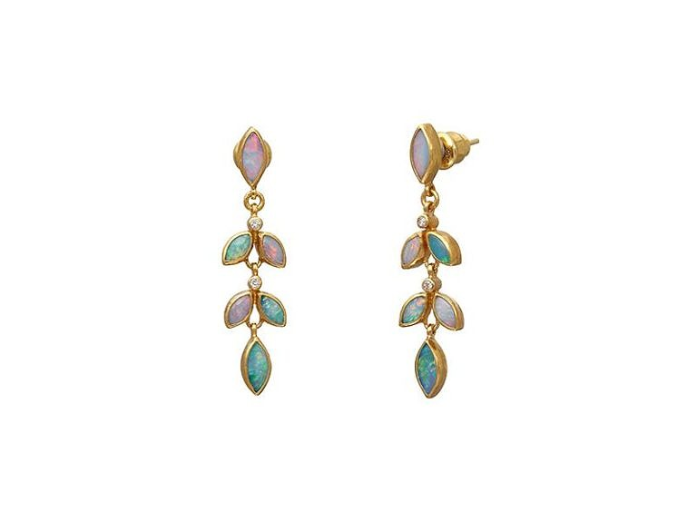Gurhan Wisteria Collection opal and diamond earrings in 24k yellow gold.