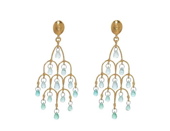 Gurhan Delicate Collection earrings in emerald and 24k and 22k yellow gold.