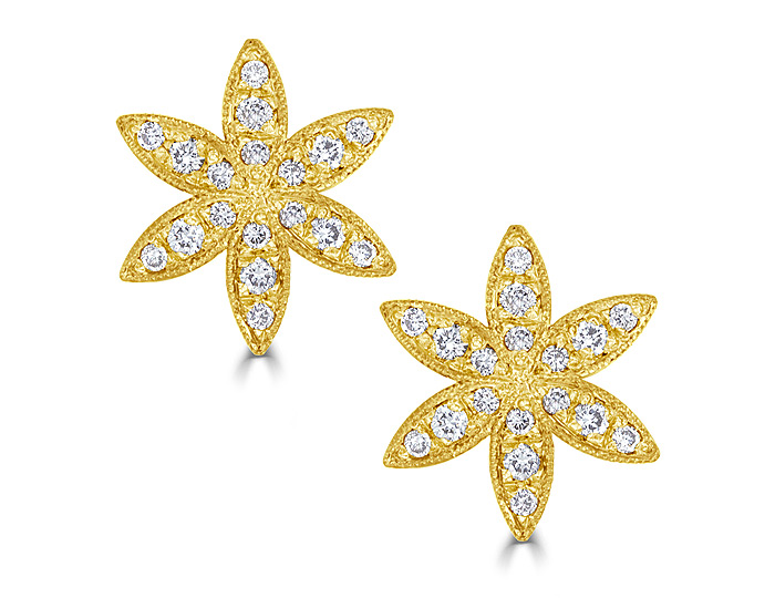 Bez Ambar round brilliant cut diamond earrings in 18k yellow gold.