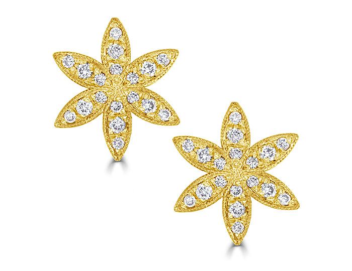 Bez Ambar round brilliant cut diamond earrings in 18k yellow gold.