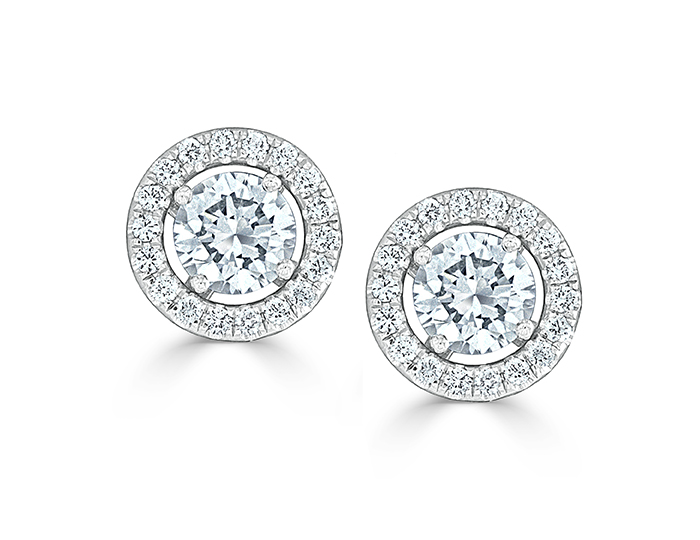 Round brilliant cut diamond earring jackets in 18k white gold.
