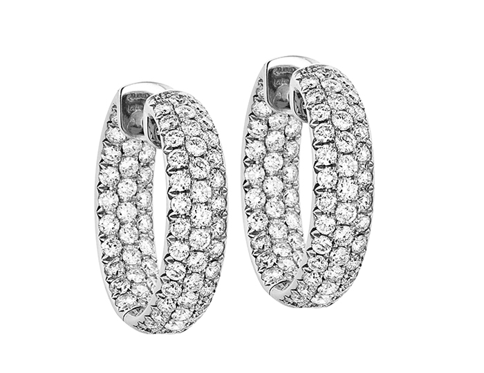 Round brilliant cut diamond hoops in 18k white gold.