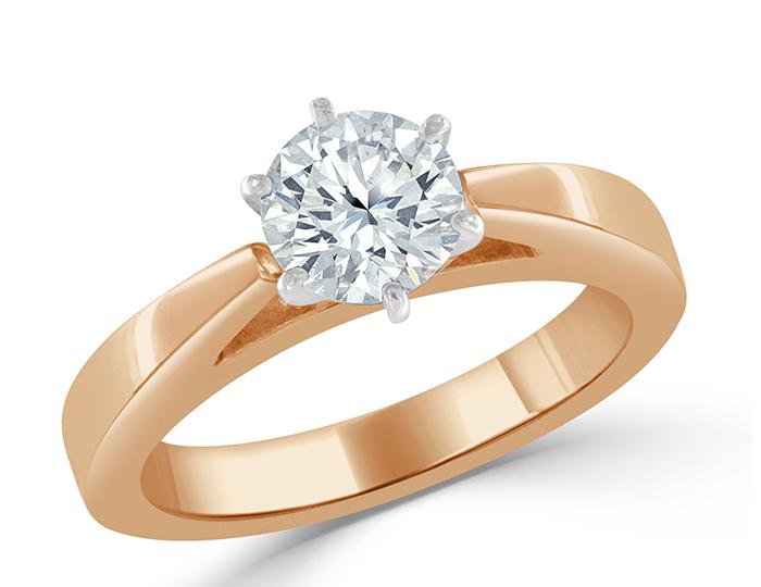 Round brilliant cut diamond engagement ring in 18k rose gold.
