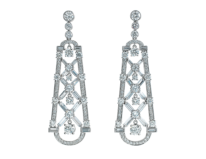 Maria Canale Deco Collection round brilliant cut and baguette cut diamond earrings in 18k white gold.