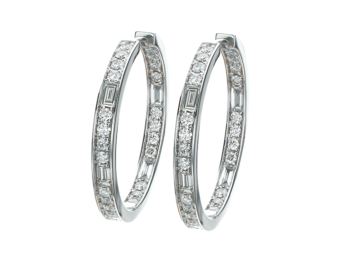 Maria Canale round brilliant cut and baguette cut diamond hoop earrings in 18k white gold.