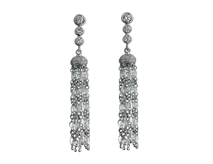 Maria Canale Tassel Collection diamond earrings in 18k white gold.