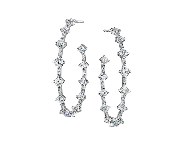 Maria Canale round brilliant cut diamond hoop earrings in 18k white gold.