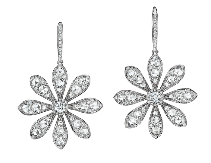 Maria Canale Aster Collection rose cut and round brilliant cut diamond earrings in 18k white gold.