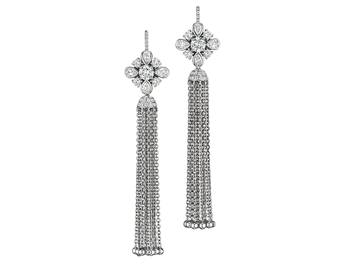Maria Canale pear shape and round brilliant cut diamond dangle earrings in 18k white gold.