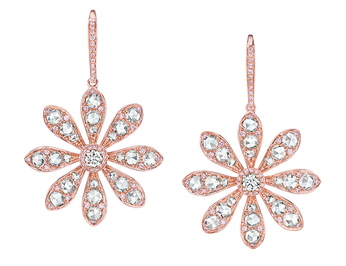 Maria Canale Aster Collection rose cut and round brilliant cut diamond earrings in 18k yellow gold.