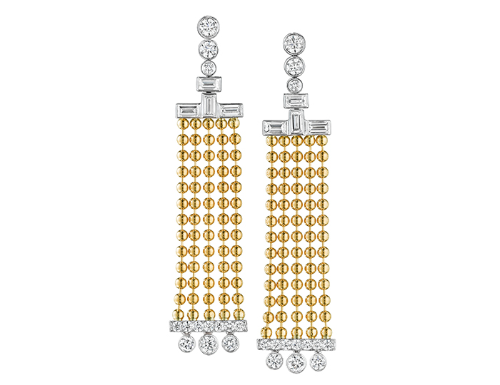 Maria Canale Flapper Collection baguette cut and round brilliant cut diamond earrings in 18k yellow and white gold.