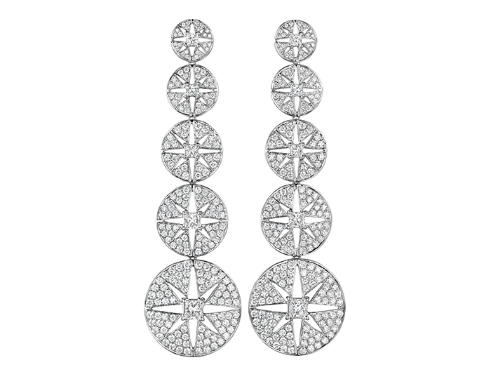 Maria Canale Pastiche Collection princess cut and round brilliant cut diamond dangle earrings in 18k white gold.