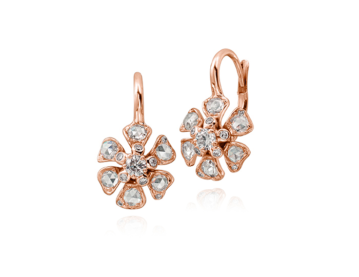 Maria Canale Aster Collection rose cut and round brilliant cut diamond earrings in 18k rose gold.