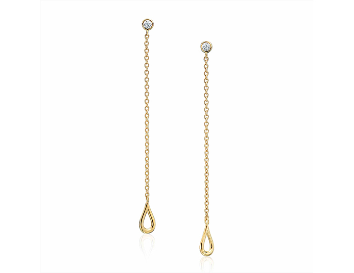 Maria Canale Drop Collection round brillant cut diamond dangle earrings in 18k yellow gold.