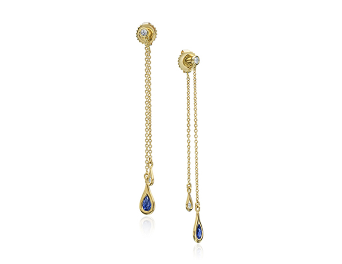 Maria Canale Drop Collection dangle earrings with sapphires and round brilliant cut diamonds in 18k yellow gold.