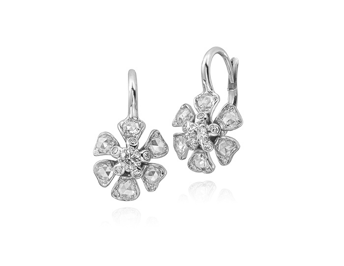 48c499c50 Maria Canale Aster Collection rose cut and round brilliant cut diamond  earrings in 18k white gold