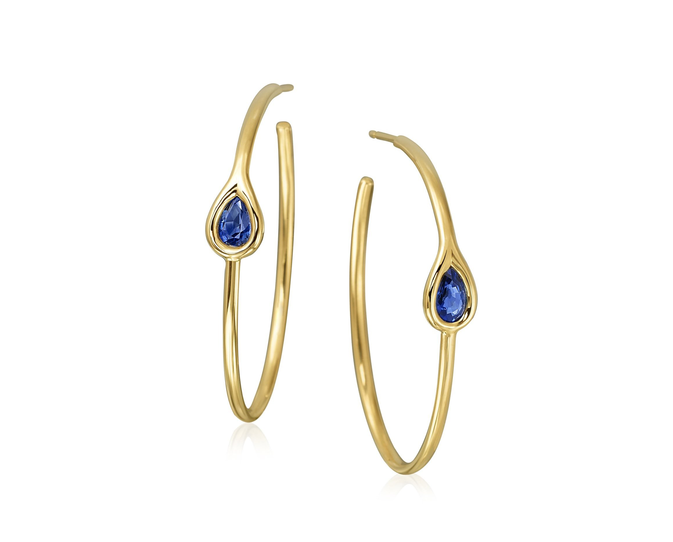 Maria Canale Drop Collection sapphire earrings in 18k yellow gold.