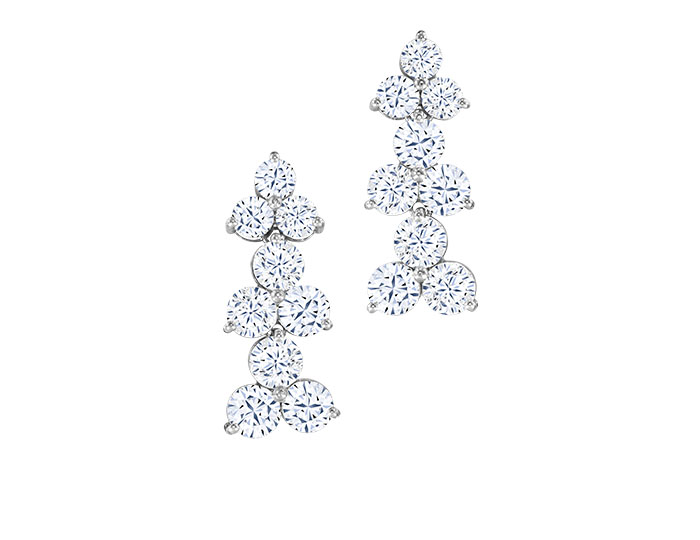 Ahee Signature Collection round brilliant cut diamond earrings in 18k white gold.