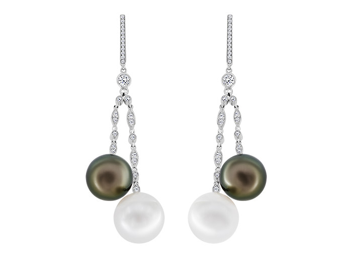 Black Tahitian pearl, freshwater pearl and round brilliant cut diamond earrings in 18k white gold.