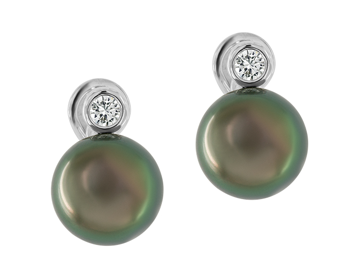 Black tahitian pearl and round brilliant cut diamond earrings in 18k white gold.
