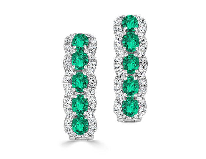Oval shape emerald and round brilliant cut diamond hoop earrings in 18k white gold.