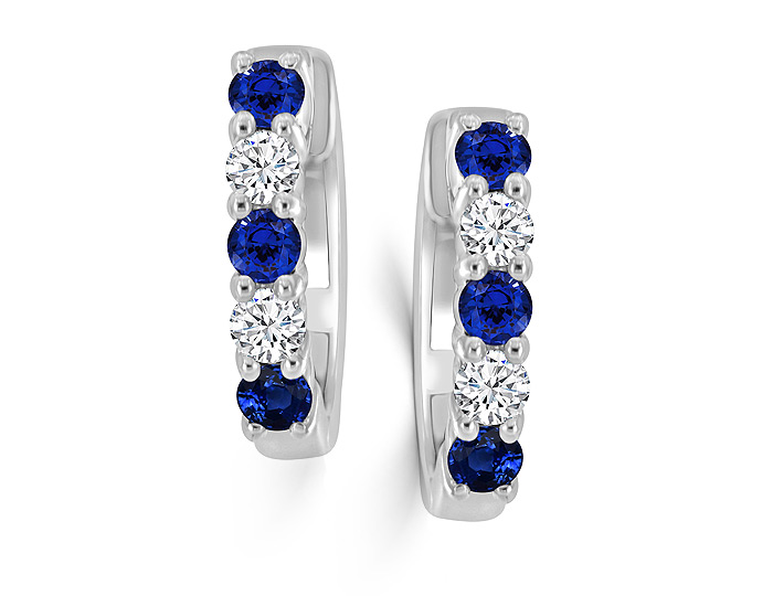 Round sapphire and round brilliant cut diamond earrings in 18k white gold.