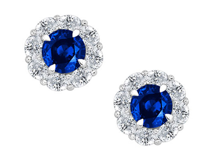 Sapphire and oval shape diamond earrings in 18k white gold.