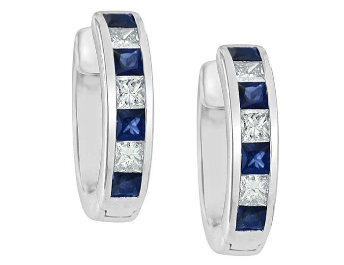 Princess cut sapphire and princess cut diamond earrings in 18k white gold.
