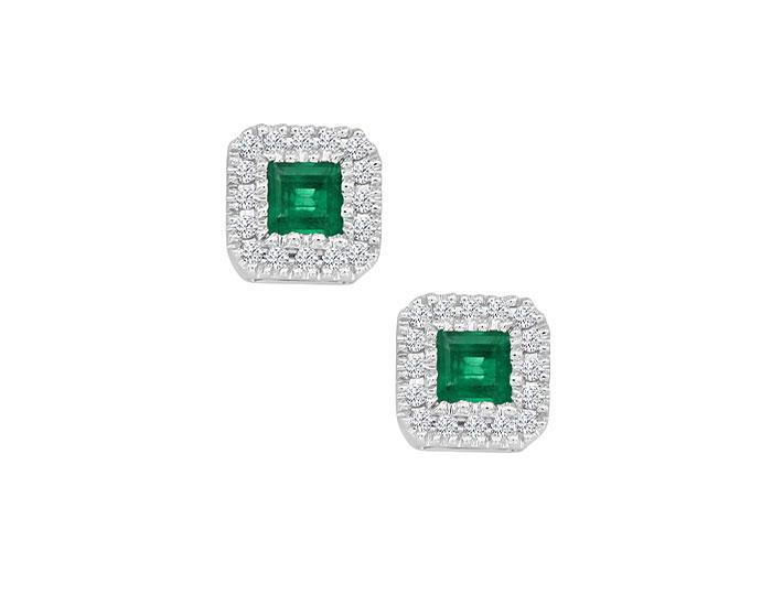 Princess cut emerald and round brilliant cut diamond earrings in 18k white gold.