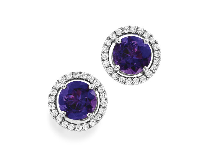 Amethyst and round brilliant cut diamnod earrings in 18k whtie gold.