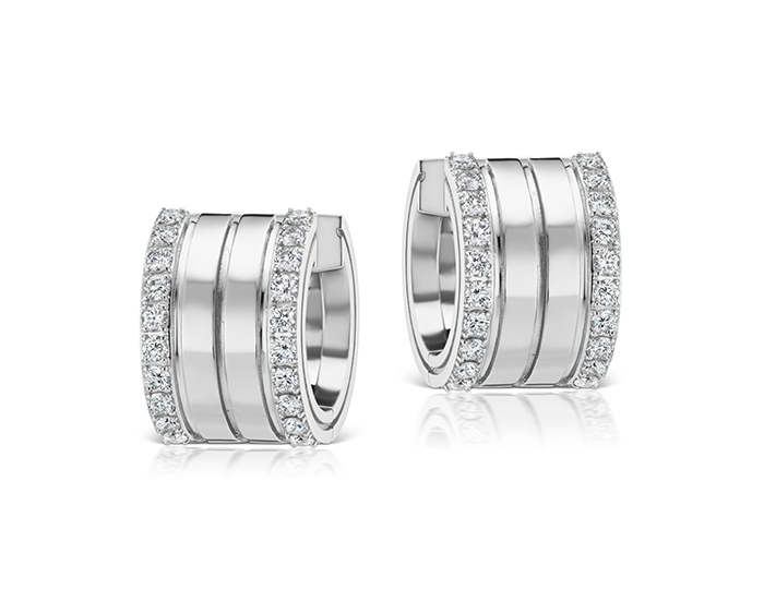 Roberto coin portofino collection round brilliant cut diamond earrings in 18k white gold.