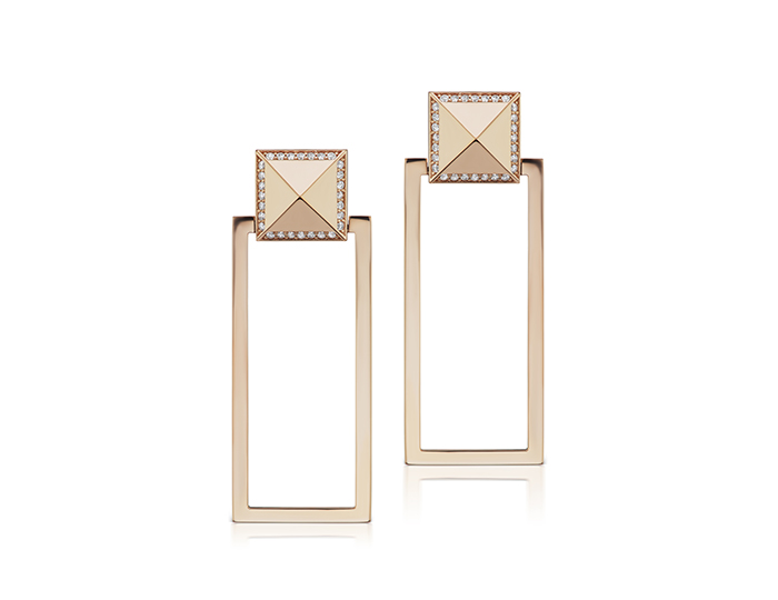 Roberto Coin Obelisco collection round brilliant cut diamond earrings in 18k rose gold.