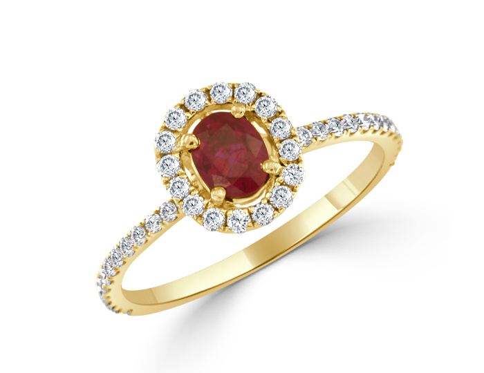 Round brilliant cut diamond and ruby ring in 18k yellow gold.